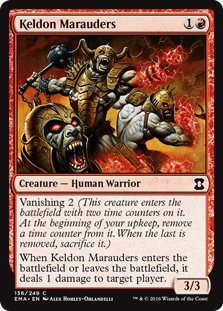 Keldon Marauders  Vanishing 2 (This creature enters the battlefield with two time counters on it. At the beginning of your upkeep, remove a time counter from it. When the last is removed, sacrifice it.)When Keldon Marauders enters the battlefield or leaves the battlefield,