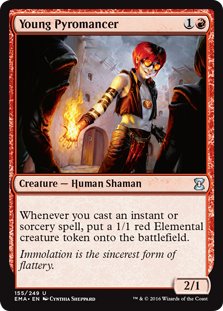 Young Pyromancer  Whenever you cast an instant or sorcery spell, create a 1/1 red Elemental creature token.