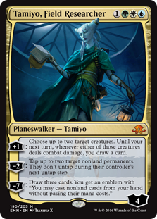 Tamiyo, Field Researcher  +1: Choose up to two target creatures. Until your next turn, whenever either of those creatures deals combat damage, you draw a card.?2: Tap up to two target nonland permanents. They don't untap during their controller's next untap step.?7: Draw three car