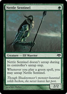 Nettle Sentinel  Nettle Sentinel doesn't untap during your untap step.Whenever you cast a green spell, you may untap Nettle Sentinel.