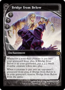 Bridge from Below  Whenever a nontoken creature is put into your graveyard from the battlefield, if Bridge from Below is in your graveyard, create a 2/2 black Zombie creature token.When a creature is put into an opponent's graveyard from the battlefield, if Bridge from Belo
