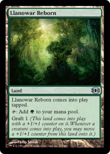 Llanowar Reborn  Llanowar Reborn enters the battlefield tapped.: Add .Graft 1 (This land enters the battlefield with a +1/+1 counter on it. Whenever a creature enters the battlefield, you may move a +1/+1 counter from this land onto it.)