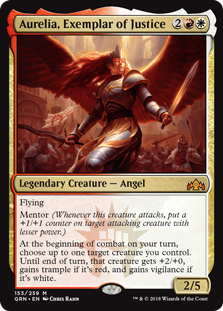 Aurelia, Exemplar of Justice  FlyingMentor (Whenever this creature attacks, put a +1/+1 counter on target attacking creature with lesser power.)At the beginning of combat on your turn, choose up to one target creature you control. Until end of turn, that creature gets +2/+0, gains tra