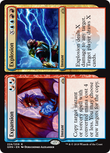 Expansion/Explosion  Explosion deals X damage to any target. Target player draws X cards.