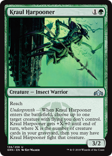 Kraul Harpooner  ReachUndergrowth — When Kraul Harpooner enters the battlefield, choose up to one target creature with flying you don't control. Kraul Harpooner gets +X/+0 until end of turn, where X is the number of creature cards in your graveyard, then you may have Krau