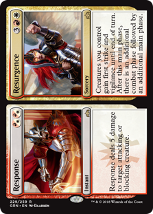 Response/Resurgence  Creatures you control gain first strike and vigilance until end of turn. After this main phase, there is an additional combat phase followed by an additional main phase.