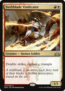 Swiftblade Vindicator  Double strike, vigilance, trample