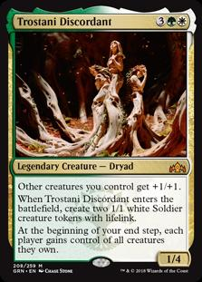 Trostani Discordant  Other creatures you control get +1/+1.When Trostani Discordant enters the battlefield, create two 1/1 white Soldier creature tokens with lifelink.At the beginning of your end step, each player gains control of all creatures they own.
