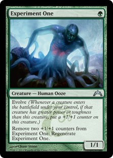 Experiment One  Evolve (Whenever a creature enters the battlefield under your control, if that creature has greater power or toughness than this creature, put a +1/+1 counter on this creature.)Remove two +1/+1 counters from Experiment One: Regenerate Experiment One.