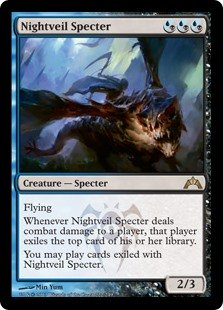 Nightveil Specter  FlyingWhenever Nightveil Specter deals combat damage to a player, that player exiles the top card of their library.You may play cards exiled with Nightveil Specter.