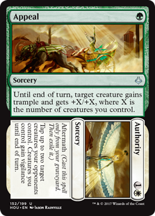 Appeal/Authority  Aftermath (Cast this spell only from your graveyard. Then exile it.)Tap up to two target creatures your opponents control. Creatures you control gain vigilance until end of turn./Until end of turn, target creature gains trample and gets +X/+X, where X is