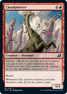 Cloudpiercer  Mutate  (If you cast this spell for its mutate cost, put it over or under target non-Human creature you own. They mutate into the creature on top plus all abilities from under it.)ReachWhenever this creature mutates, you may discard a card. If you do, dra