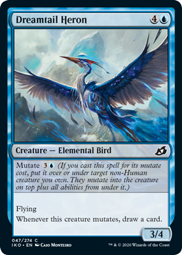 Dreamtail Heron  Mutate  (If you cast this spell for its mutate cost, put it over or under target non-Human creature you own. They mutate into the creature on top plus all abilities from under it.)FlyingWhenever this creature mutates, draw a card.