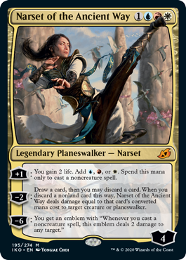 Narset of the Ancient Way  +1: You gain 2 life. Add , , or . Spend this mana only to cast a noncreature spell.?2: Draw a card, then you may discard a card. When you discard a nonland card this way, Narset of the Ancient Way deals damage equal to that card's converted mana cost to t
