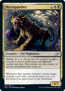 Necropanther  Mutate  (If you cast this spell for its mutate cost, put it over or under target non-Human creature you own. They mutate into the creature on top plus all abilities from under it.)Whenever this creature mutates, return target creature card with converted