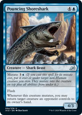 Pouncing Shoreshark  Mutate  (If you cast this spell for its mutate cost, put it over or under target non-Human creature you own. They mutate into the creature on top plus all abilities from under it.)FlashWhenever this creature mutates, you may return target creature an oppo