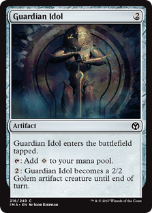 Guardian Idol  Guardian Idol enters the battlefield tapped.: Add .: Guardian Idol becomes a 2/2 Golem artifact creature until end of turn.