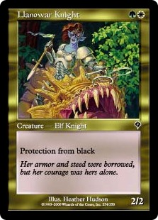 Llanowar Knight  Protection from black