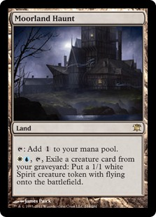 Moorland Haunt  : Add ., , Exile a creature card from your graveyard: Create a 1/1 white Spirit creature token with flying.