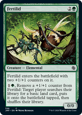 Fertilid  Fertilid enters the battlefield with two +1/+1 counters on it., Remove a +1/+1 counter from Fertilid: Target player searches their library for a basic land card, puts it onto the battlefield tapped, then shuffles their library.