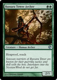 Bassara Tower Archer  Hexproof, reach