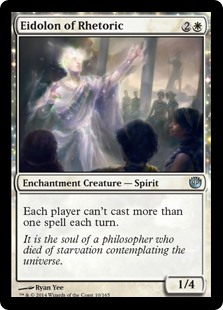 Eidolon of Rhetoric  Each player can't cast more than one spell each turn.