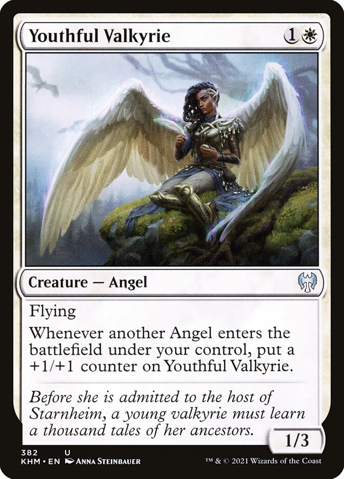 Youthful Valkyrie  FlyingWhenever another Angel enters the battlefield under your control, put a +1/+1 counter on Youthful Valkyrie.