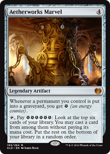 Aetherworks Marvel  Whenever a permanent you control is put into a graveyard, you get  (an energy counter)., Pay : Look at the top six cards of your library. You may cast a card from among them without paying its mana cost. Put the rest on the bottom of your library in a ran