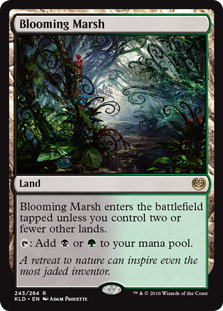 Blooming Marsh  Blooming Marsh enters the battlefield tapped unless you control two or fewer other lands.: Add  or .