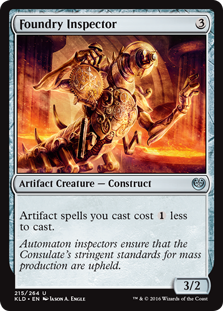 Foundry Inspector  Artifact spells you cast cost  less to cast.