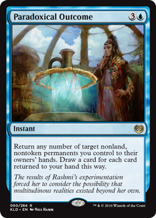 Paradoxical Outcome  Return any number of target nonland, nontoken permanents you control to their owners' hands. Draw a card for each card returned to your hand this way.
