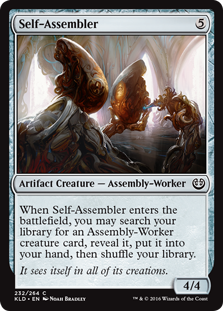 Self-Assembler  When Self-Assembler enters the battlefield, you may search your library for an Assembly-Worker creature card, reveal it, put it into your hand, then shuffle your library.