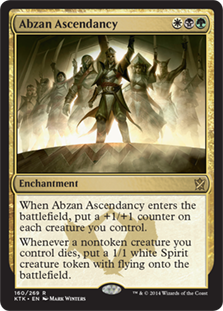 Abzan Ascendancy  When Abzan Ascendancy enters the battlefield, put a +1/+1 counter on each creature you control.Whenever a nontoken creature you control dies, create a 1/1 white Spirit creature token with flying.