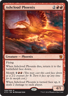 Ashcloud Phoenix  FlyingWhen Ashcloud Phoenix dies, return it to the battlefield face down under your control.Morph  (You may cast this card face down as a 2/2 creature for . Turn it face up any time for its morph cost.)When Ashcloud Phoenix is turned face up, it deals 2 d