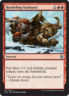 Hordeling Outburst  Create three 1/1 red Goblin creature tokens.