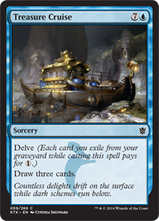 Treasure Cruise  Delve (Each card you exile from your graveyard while casting this spell pays for .)Draw three cards.