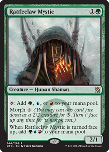 Rattleclaw Mystic  : Add , , or .Morph  (You may cast this card face down as a 2/2 creature for . Turn it face up any time for its morph cost.)When Rattleclaw Mystic is turned face up, add .