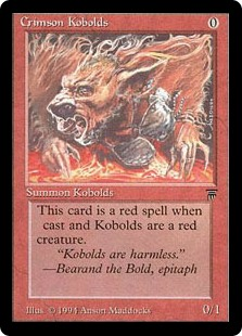 Crimson Kobolds  This card is a red spell when cast and Kobolds are a red creature.