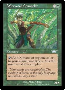 Wirewood Channeler  : Add X mana of any one color, where X is the number of Elves on the battlefield.