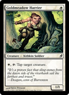 Goldmeadow Harrier  , : Tap target creature.