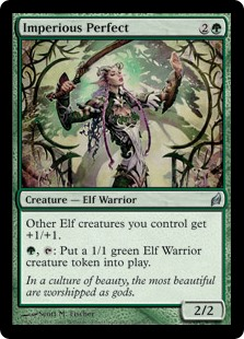 Imperious Perfect  Other Elf creatures you control get +1/+1., : Create a 1/1 green Elf Warrior creature token.