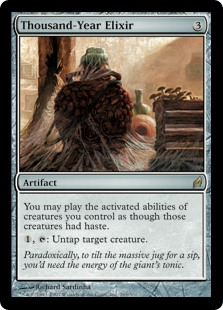 Thousand-Year Elixir  You may activate abilities of creatures you control as though those creatures had haste., : Untap target creature.