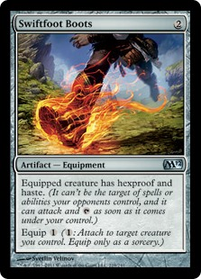 Swiftfoot Boots  Equipped creature has hexproof and haste.Equip