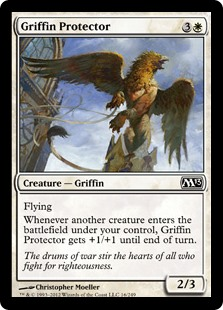 Griffin Protector  FlyingWhenever another creature enters the battlefield under your control, Griffin Protector gets +1/+1 until end of turn.