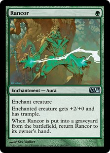 Rancor  Enchant creatureEnchanted creature gets +2/+0 and has trample.When Rancor is put into a graveyard from the battlefield, return Rancor to its owner's hand.