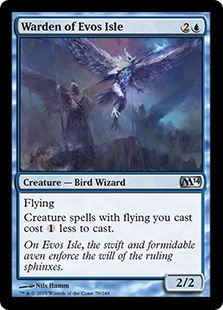 Warden of Evos Isle  FlyingCreature spells with flying you cast cost  less to cast.
