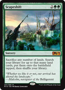 Scapeshift  Sacrifice any number of lands. Search your library for up to that many land cards, put them onto the battlefield tapped, then shuffle your library.