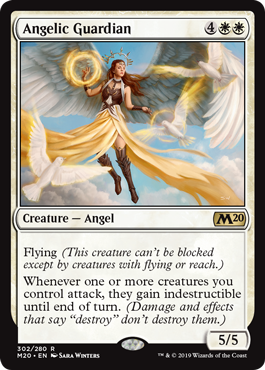 "Angelic Guardian  Flying (This creature can't be blocked except by creatures with flying or reach.)Whenever one or more creatures you control attack, they gain indestructible until end of turn. (Damage and effects that say ""destroy"" don't destroy them.)"