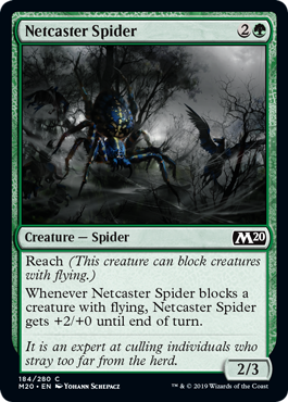 Netcaster Spider  Reach (This creature can block creatures with flying.)Whenever Netcaster Spider blocks a creature with flying, Netcaster Spider gets +2/+0 until end of turn.