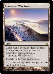 Contested War Zone  Whenever a creature deals combat damage to you, that creature's controller gains control of Contested War Zone.: Add ., : Attacking creatures get +1/+0 until end of turn.